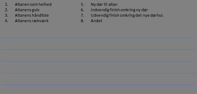 1.Altanen som helhed5.Ny dør til altan 2.Altanens gulv6.Indvendig finish omkring ny dør 3.Altanens håndliste7.Udvendig finish omkring det nye dørhul. 4.Altanens rækværk8.Andet